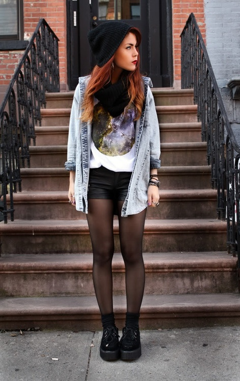 beautiful grunge outfits with leggings